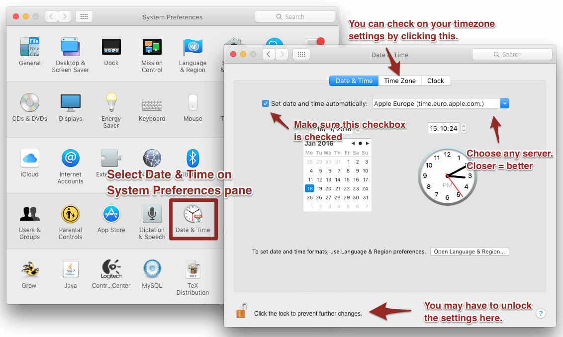Screenshot to sync the system clock.